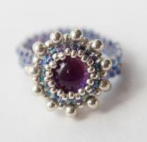 Purple dichroic glass ring
