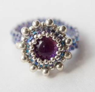 Purple dichroic glass ring