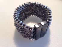 Etched farfalle cuff by Sarah Cryer Beadwork