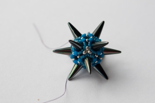 Great Balls of Spikes - Gunmetal & Turquoise - Sarah Cryer Beadwork