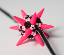 Great Ball of Spikes - Black, White & Neon Pink - Sarah Cryer Beadwork