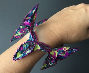 Abstract Reflections - beadwoven statement bangle