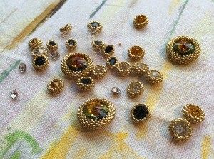 Sapphires & Gold - in progress - Sarah Cryer Beadwork