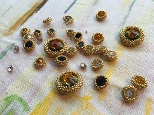 Sapphires & Gold - in progress - Sarah Cryer Beadwork
