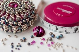 Fuchsia & Silver Baroque Tape Measure Materials Pack