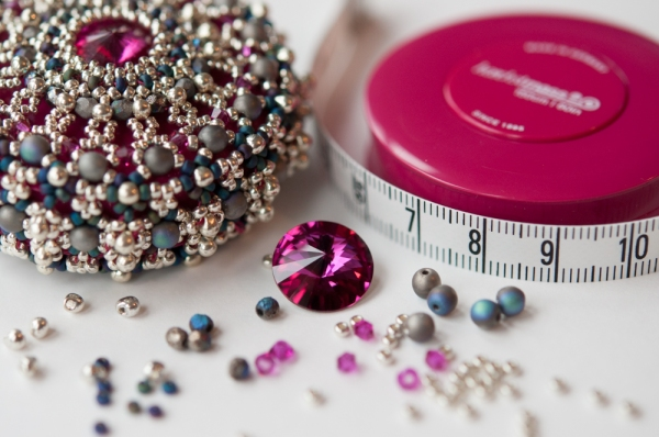 Fuchsia & Silver Baroque Tape Measure Materials Pack